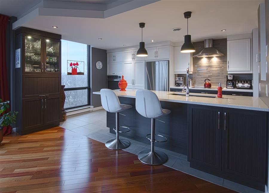 Armoires de cuisine cr ations folie bois rive sud cuisines - Hotte de cuisine montreal ...